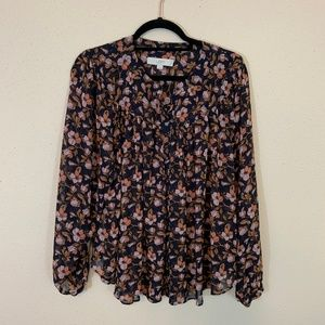 LOFT Floral Loose Sheer Tunic Blouse